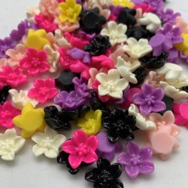 SA074: Resin Flower Cabochons 13mm, 50 pieces [ B4 ]