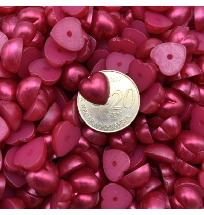 SA747: Acrylic Pearl DARK RED Heart 10.5x10.5mm,100 pieces  [ C2 ]
