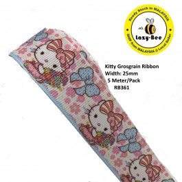 RB361: Kitty: Grosgrain Ribbon 25mm, 5 Meter