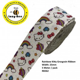 RB362: Rainbow Kitty: Grosgrain Ribbon 25mm, 5 Meter