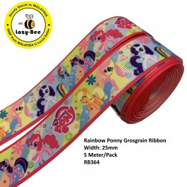 RB364: Rainbow Ponny: Grosgrain Ribbon 25mm, 5 Meter
