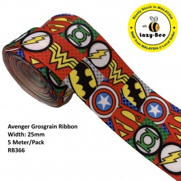 RB366: Avenger: Grosgrain Ribbon 25mm, 5 Meter