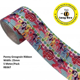 RB367: Ponny: Grosgrain Ribbon 25mm, 5 Meter