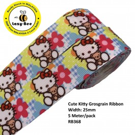 RB368: Cute Kitty: Grosgrain Ribbon 25mm, 5 Meter