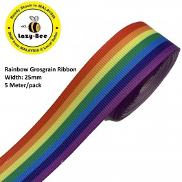 RB369: Rainbow: Grosgrain Ribbon 25mm, 5 Meter