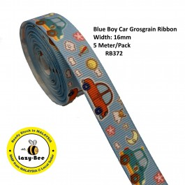 RB372: Blue Boy Car: Grosgrain Ribbon 16mm, 5 Meter