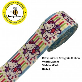 RB373: Kitty Unicorn: Grosgrain Ribbon 25mm, 5 Meter