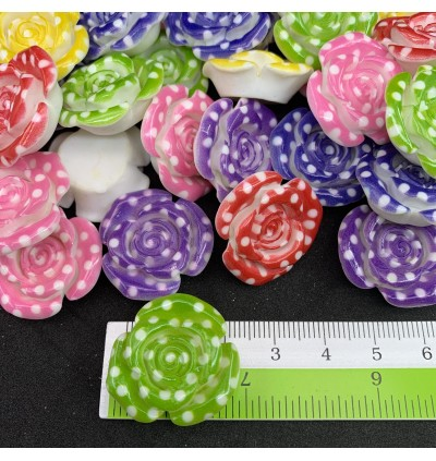 SA751: 20 pieces Polka Dot Rose Resin Cabochons Flatback 24x24mm [ C18 ]