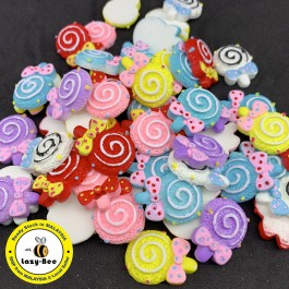 SA752: 10 pieces Mixed Lollipop Resin Cabochons Cute Kawaii 26x19mm [ C8 ]
