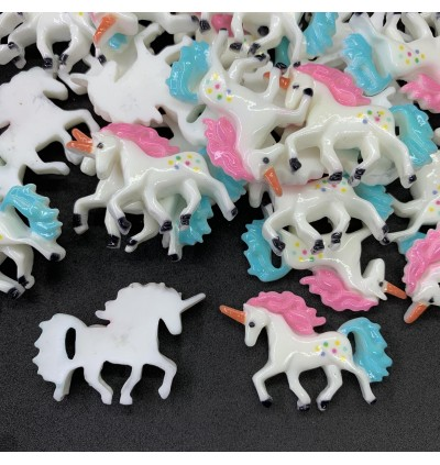 SA753: 10 pieces Colorful Unicorn Resin Cabochons 22x29mm [ C12 ]