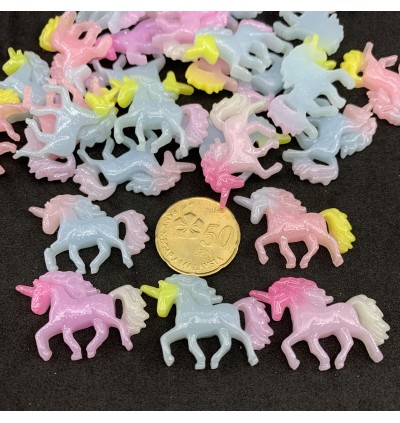 SA754: 10 pieces Unicorn Resin Cabochons Glitter Powder 22x32mm [ C8 ]