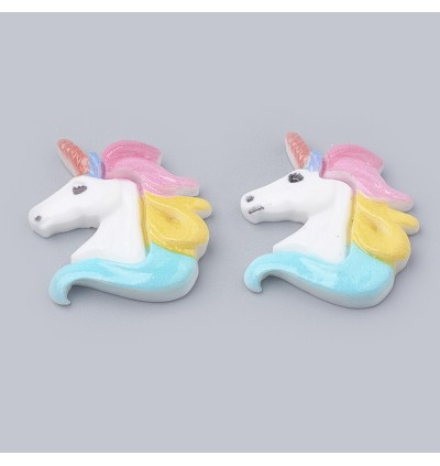 SA759: 10 pieces Colorful Unicorn Resin Cabochons 22x22mm [ C12 ]