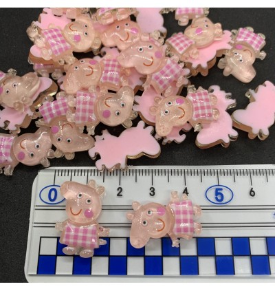 SA771: 5 pieces Peppa Pig Glitter Resin 18x23mm [ Z38 ]
