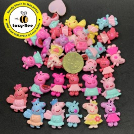 SA772: 10 pieces Peppa Pig Resin Random Mixed Design [ A17 ]