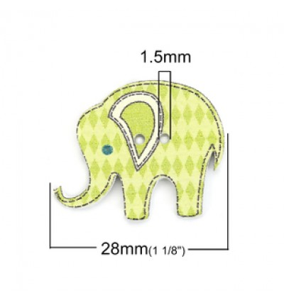B0126929: 50 pieces Elephant Wood Button Cute Sewing Baby Craft DIY Scrapbooking Crafts 28x23mm [ A2 ]