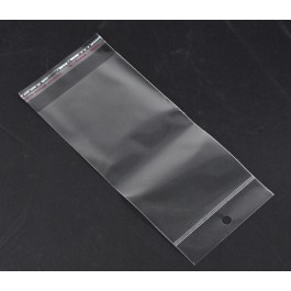 B14824: 200 pieces Plastic Self-Seal Bags Rectangle Transparent With Hang Hole 20x9cm