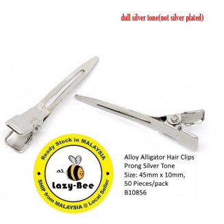 B10856: 50 Pieces Alloy Alligator Hair Clips Prong Silver Tone 45x10mm [ B13 ]