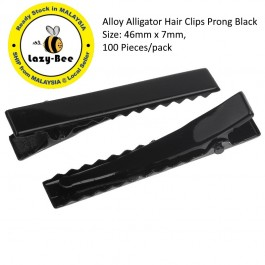 B32870: 50 Pieces Alloy Alligator Hair Clips Prong Black 46x7mm [ C2 ]