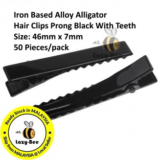 B32870: 50 Pieces 46x7mm Alloy Alligator Hair Clips Prong Black DIY Hair Accessory [ C2 ]