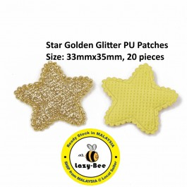 SA779: 20 pieces Star Golden Glitter PU Patches 33x35mm