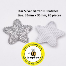 SA780: 20 pieces Star Silver Glitter PU Patches 33x35mm