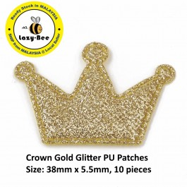 SA781: 10 pieces Crown Gold Glitter PU Patches 38x5.5mm