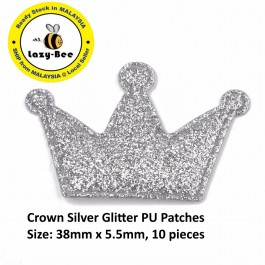 SA782: 10 pieces Crown Silver Glitter PU Patches 38x5.5mm