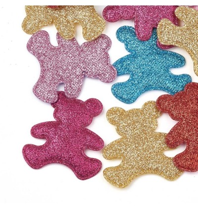 SA783: 10 pieces Bear Glitter PU Patches Mixed Color 60x56mm