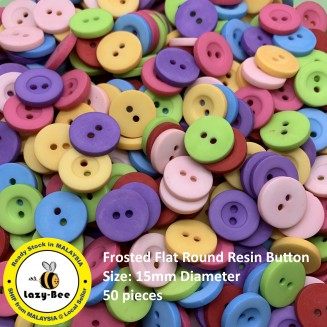 WB129: 50 pieces Frosted Flat Round Resin Button Cute Sewing Baby Craft DIY Scrapbooking Crafts 15mm [ C3 ]