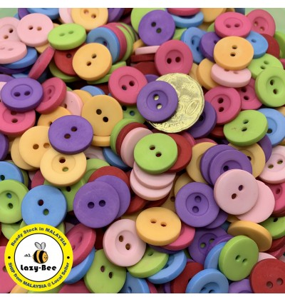 WB129: 50 pieces Frosted Flat Round Resin Button 15mm [ C3 ]