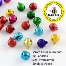 MC813: 50 pieces Mixed Color Aluminum Bell Charms 9x8mm [ C2 ]