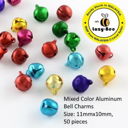 MC812: 50 pieces Mixed Color Aluminum Bell Charms 11x10mm [ B2 ]