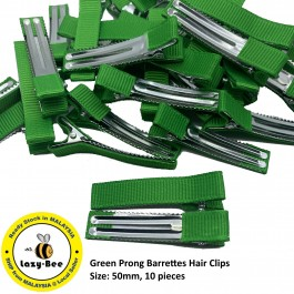 MC789: 10 pieces Green Prong Barrettes Hair Clips 50mm [ C12 ]