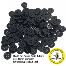 WB133: 100 pieces 11mm BLACK Flat Round Resin Sew Buttons DIY Sewing Craft Doll Making Scrapbook [ B13 ]