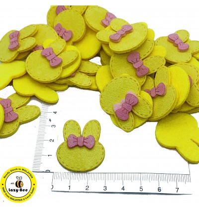 SA774: 5 pieces YELLOW Rabbit Hair Bows Faux Suede Cord Woven 34x28mm [ C1 ]