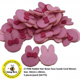 SA775: 5 pieces LT PINK Rabbit Hair Bows Faux Suede Cord Woven 34x28mm [ C1 ]