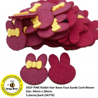 SA776: 5 pieces DEEP PINK Rabbit Hair Bows Faux Suede Cord Woven 34x28mm [ C1 ]