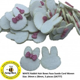 SA777: 5 pieces WHITE Rabbit Hair Bows Faux Suede Cord Woven 34x28mm [ C1 ]