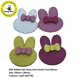 SA778: 4 pieces MIX Rabbit Hair Bows Faux Suede Cord Woven 34x28mm [ C1 ]