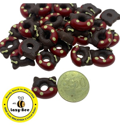 SA763: 8 pieces Mix Cat Donuts Resin Cabochons 14.5x16.5mm [ B4 ]