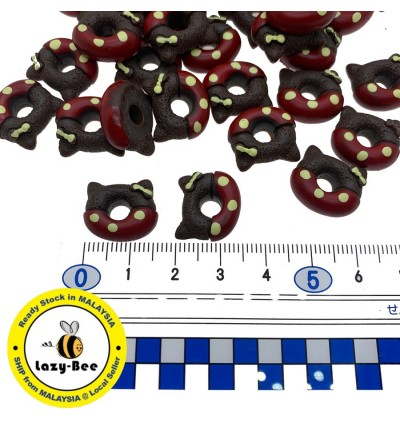 SA787: 8 pieces SIENNA Cat Donuts Resin Cabochons 14.5x16.5mm [ B4 ]