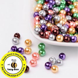 BC089: Halloween Mix Pearlized Glass Pearl Beads 6mm, about 200 pieces