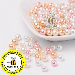 BC090: Barely Pink Mix Pearlized Glass Pearl Beads 6mm, about 200 pieces