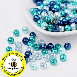 BC091: Carribean Blue Mix Pearlized Glass Pearl Beads 6mm, about 200 pieces
