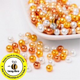 BC094: Caramel Mix Pearlized Glass Pearl Beads 6mm, about 200 pieces