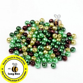 BC095: Choc-Mint Mix Pearlized Glass Pearl Beads 6mm, about 200 pieces