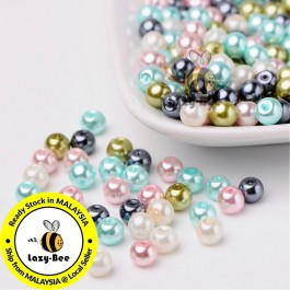 BC096: Pastel Mix Pearlized Glass Pearl Beads 6mm, about 200 pieces