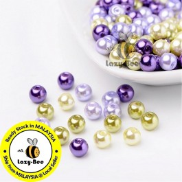BC097: Lavender Garden Mix Pearlized Glass Pearl Beads 6mm, about 200 pieces