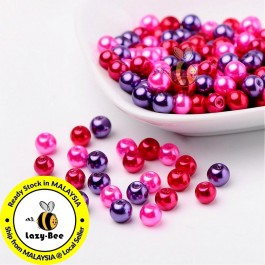 BC098: Valentine's Mix Pearlized Glass Pearl Beads 6mm, about 200 pieces