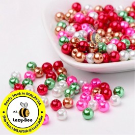 BC099: Christmas Mix Pearlized Glass Pearl Beads 6mm, about 200 pieces